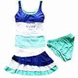 ZYZF 3 Pieces Kids teens Girls Tankini Bikini Swimwear Swimsuit Dress UPF 50+ UV