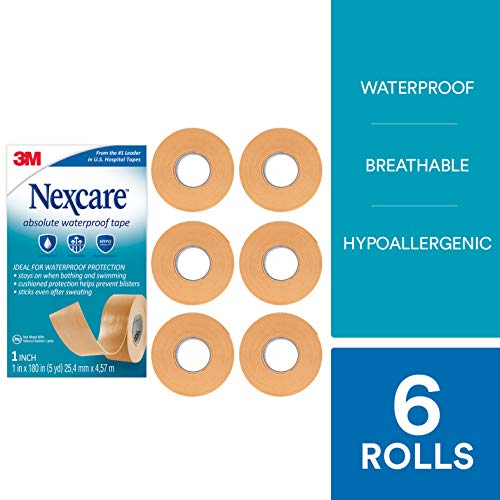 Nexcare Absolute Waterproof First Aid Tape, Breathable, Hypoallergenic, 1-Inch x 5-Yard Roll (Pack of 6)