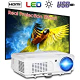 (2018 Upgraded) 3600 Lumens Projector with 200 Display - 50,000 Hours LED Full HD Video Projector 1080P, Compatible with Amazon Fire TV Stick, HDMI, VGA, USB, AV, SD for Home Theater