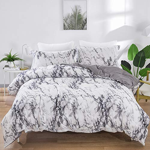 Marble Comforter Set Queen White Gray Marble Printed Bedding Solid Comforter Set for All Seasons, 3 Pieces(1 Comforter+2…