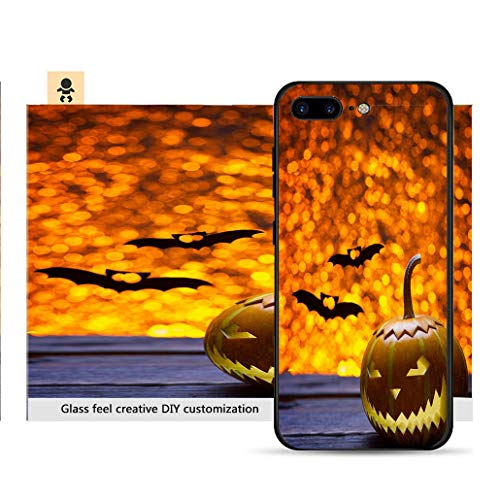 iPhone 7p / 8p Ultra-Thin Phone case Pumpkins for Halloween and The Silhouette of a bat Resistance to Falling, Non-Slip, Soft, Convenient Protective case