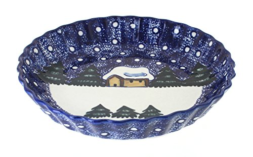 Blue Rose Polish Pottery Winter Forest Pie ()