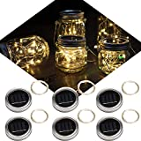 6 Pack Solar Jar Lids for Mason Jars with 20 LED Fairy String Lights(Jars & Handles Not Included), Fit for Patio, Yard, Garden, Party, Wedding, Christmas Decor (6, Warm White-20LED)