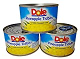 Dole Pineapple Tidbits in 100% Pineapple Juice 8 Oz. Can (Pack of 3)