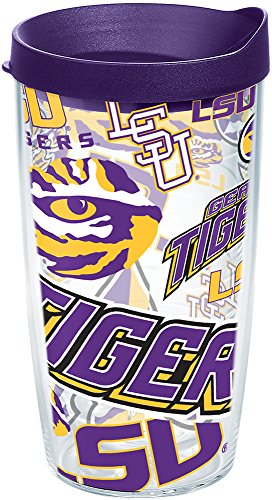 Tervis 1251604 NCAA Lsu Tigers All Over Tumbler with Lid, 16 oz, Clear
