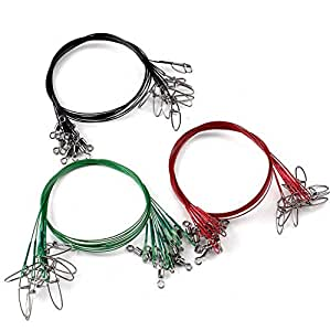 Scotank Fishing Leader Wire Tooth Proof 7 Strand Stainless Steel with swivels Snap Kits Connect Tackle Lures Rig or Hooks Three Size, 100LB 30PCS