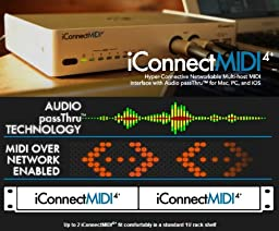 iConnectMIDI4+ Lightning Version Hyper-Connective Networkable 4x4 MIDI Interface with Audio passThru for Mac, PC and iOS
