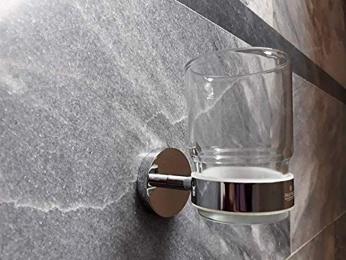 Pakfiaz Bathroom Accessories Brass Wall Mounted Toothbrush Holder, Single Glass Tumbler with Holder Tumbler and Toothbrush Holder, Tumbler Cup for Kitchen and Bathroom, Wall Mount Toothpaste Holder