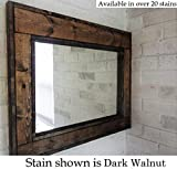 large bathroom mirrors Herringbone Reclaimed Wood Framed Mirror, Available in 4 Sizes and 20 Stain colors: Shown in Dark Walnut - Large Wall Mirror - Rustic Modern Home - Home Decor - Mirror - Housewares - Woodwork - Frame