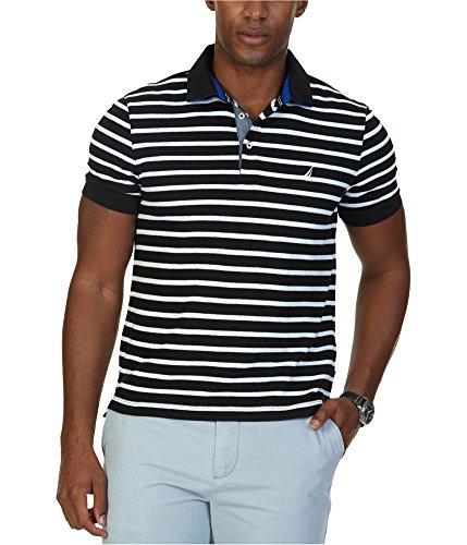 Nautica Men's Classic Fit Short Sleeve Striped Polo Shirt, True Black, (Classic Striped Striped Polo Shirt)