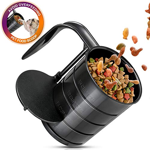 YUEJING Plastic Food Scoop, Pet Food Measuring Cups, Measuring Cups Spoon with Measuring Lines, Injection Molded and Dishwasher Safe, Pet Food Scoop for Bird, Cat or Dog Food