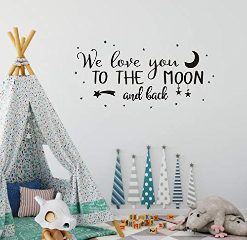 (Wall Decal Kids We Love You to The Moon and Back Quote Wall Decals Nursery Vinyl Wall Stickers for Baby Boys and Grils Bedroom Scandinavian Wall Decal (Y29) (Black))
