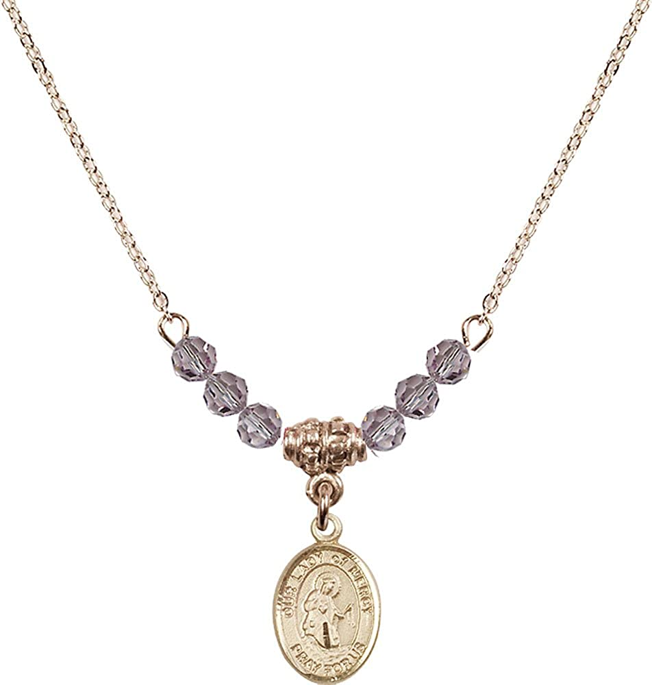 18-Inch Hamilton Gold Plated Necklace with 4mm Light Amethyst Birthstone Beads and Gold Filled Our Lady of Mercy Charm.