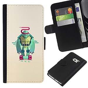 KLONGSHOP // Tirón de la caja Cartera de cuero con ranuras para tarjetas - Minimalista Guerrero Tortuga - Samsung Galaxy S6 EDGE //