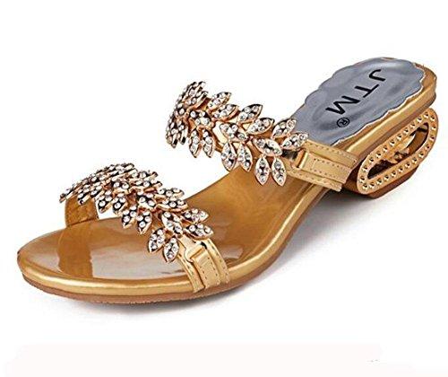 KUKI Ladies coole Sandalen Mode Strass mit offenen großen Pantoffeln 1