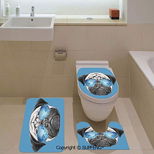Decorative& home 3 Piece Bath Mat Set Pug Portrait with Mirror Sunglasses Hand Drawn Illustration of Pet Animal Funny Rug + Lid Toilet Cover + Bath Mat/ Non-Slip/ Pedestal Digital Print Fashion Art