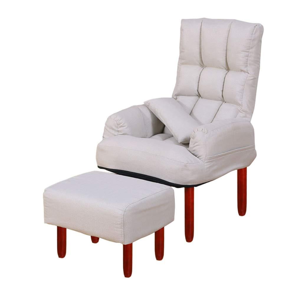 折り畳み式デッキチェアダイニングチェア寝室リビングルームサンラウンジャーカフェバーホテルチェアソファチェア背もたれ調整可能リクライニングチェアコンピュータチェア (Color : White) B07T1HWR6B White