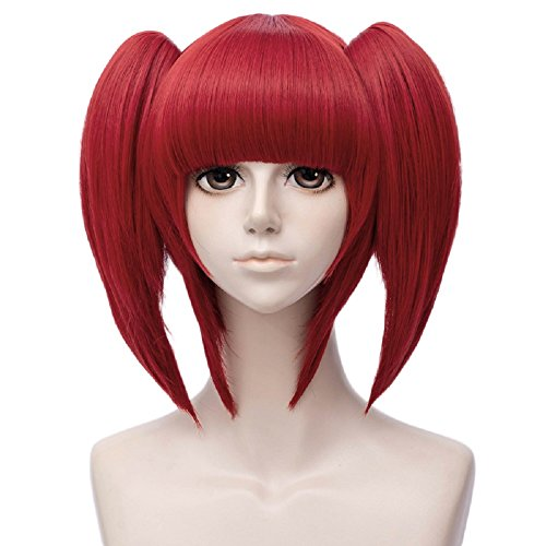 Probeauty Long Curly Synthetic Party Cosplay Wig Gothic Costume Hair+Wig Cap (Red Beryl -Ponytail)