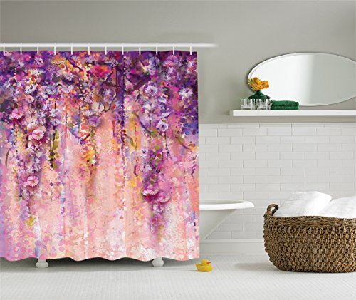 Ambesonne Watercolor Flower Decor Collection, Wisteria Tree in Blossom Romantic Spring Flowers over Bokeh Picture Print, Polyester Fabric Bathroom Shower Curtain Set with Hooks, Peach (Peach Blossom Shower)