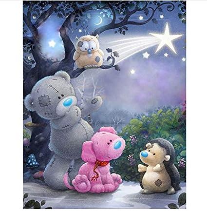 La pleine broderie de diamant pour la peinture de diamant de bricolage de la pièce 5D de bébé dépeint l'ours 50x70cm de bande dessinée de diamant de mosaïque