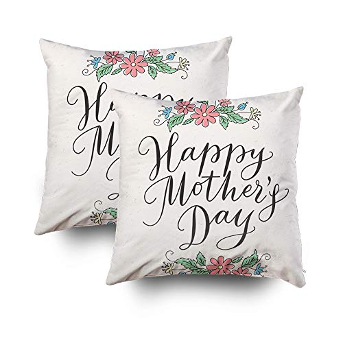 GROOTEY Square Set of 2 Pillow Case with Zippered for Home Sofa Decor 18X18Inch Costom Throw Cover Cushion, Happy Earth Day Calligraphy Lettering Cute Postcards Posters Stickers Ecology Card Nature
