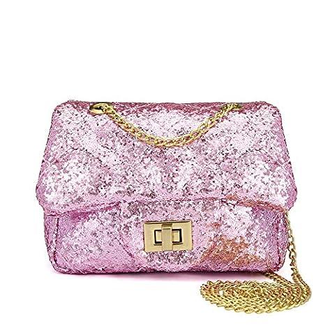 CMK Trendy Kids Quilted Bling Glitter Kids Crossbody Handbags for Girls with Metal Chain (15cm(L) x 7.5cm(W) x 9cm(H), (80001_Glitter - Pink Kids Bag