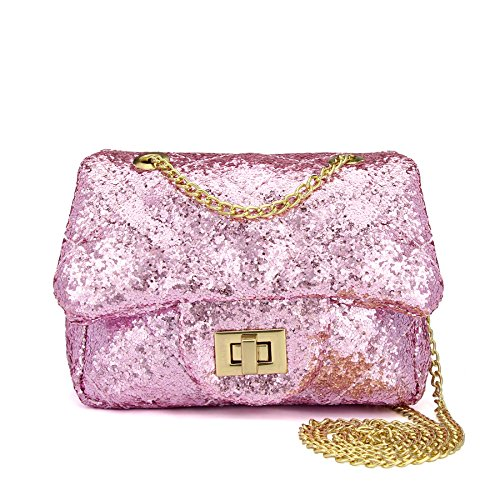 CMK Trendy Kids Quilted Bling Glitter Kids Crossbody Handbags for Girls with Metal Chain (15cm(L) x 7.5cm(W) x 9cm(H), (80001_Glitter Pink)...