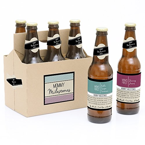 White Label Beer - Mommy's First Milestones - 6 Beer Bottle Labels and 1 Carrier