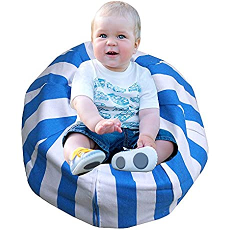 Stuffed Animal Storage Bean Bag Chair Premium Canvas Easy Solution For Extra Toys Blankets Covers Towels And Clothes 22 Inches Blue