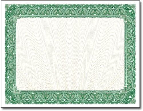 (28lb Green Border Certificates - 100 Certificates)