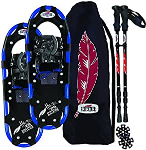 RedFeather Men's HIKE 22 Inch Recreational Series Snowshoe Kit with SV2 Bindings, Ski Poles and Carry Bag - 157310KIT