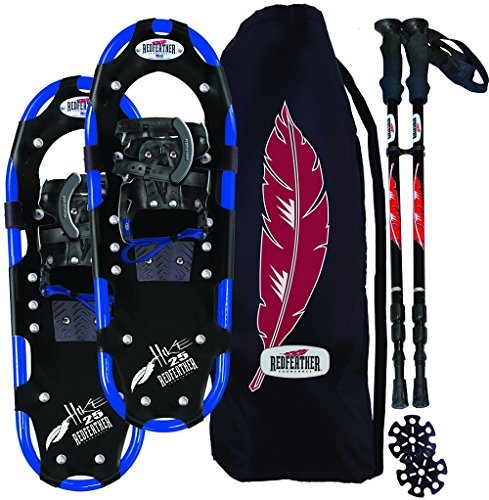 Atlas Race Snowshoe - Redfeather Men's Series Hike 25 SV2 Snowshoes Kit, Ski Poles and Carry Bag - 147010KIT