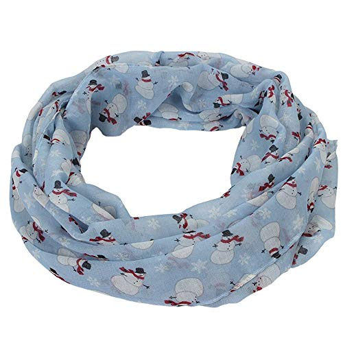 Clearance Sale ! Kshion Womens Long Soft Wrap Scarf Christmas Print Balinese Scarf Multipurpose Scarves (Sky Blue) (Balinese Hat)