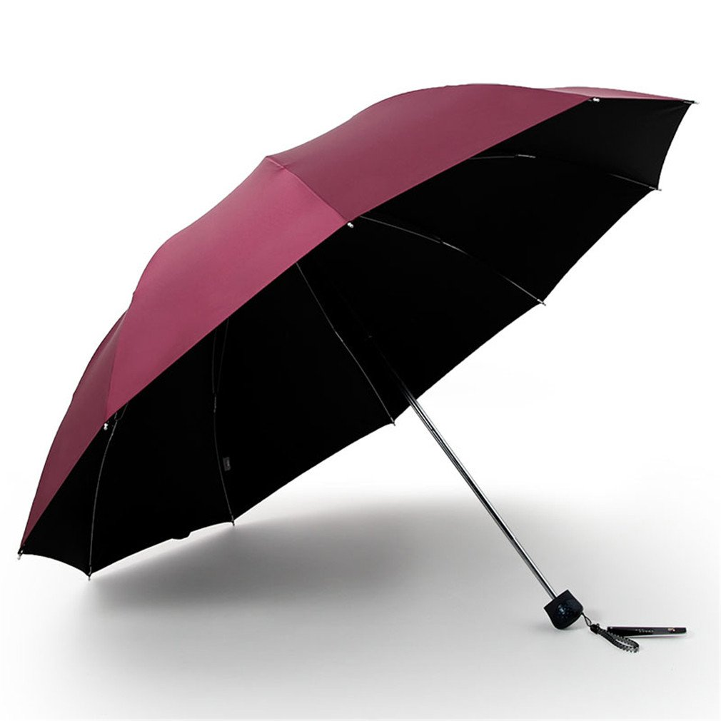 Guoke One Umbrella Male And Large Female Students Fold Reinforcement Two Umbrellas, With A Fine Wine - Red - Black Rubber - 10 6Æ
