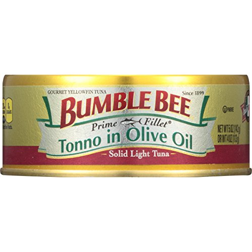 BUMBLE BEE PRIME FILLET Tonno in Olive Oil, Canned Tuna in Olive Oil, Gluten Free Food, High Protein Snacks, Bulk Snacks, 5 Ounce Can (Pack of 12) (Tuna Genova)