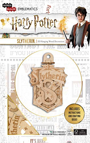 """Harry Potter Slytherin Emblematics Wood Model Ornament Kit - Build, Paint and Collect Your Own 3-D Slytherin House Crest Hanging Ornament - Ages 8+ - 2.5"""" x 3.5"""""""