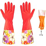 BNYD Kitchen Cleaning Gloves, Latex Dishwashing Waterproof Gloves, Heated Gardening Rubber Gloves (Red)