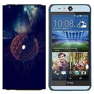 EJOOY---Cubierta de la caja de protección para la piel dura ** HTC Desire Eye M910x ** --Espacio Tierra Sci Fi futurista Planet