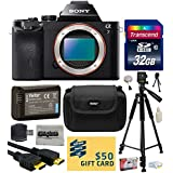 Sony a7 Full-Frame 24.3 MP Mirrorless Interchangeable Digital Lens Camera - Body Only (ILCE7) with Best Value Accessories Bundle Kit includes includes 32GB Class 10 SDHC Memory Card + Replacement (1200mAh) NP-FW50 Battery + Professional 60 Inch Photo/Video Tripod + Hard Shell Carrying Case + High Speed USB Reader/Writer + HDMI Cable + Camera Lens Cleaning Kit + Bonus $50 Gift Card for Digital Prints
