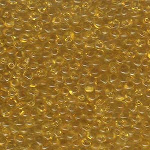 Light Amber Transparent Miyuki 3.4mm Fringe Seed Bead Glass Tear Drops 25 Gram Tube Approx 650 Beads