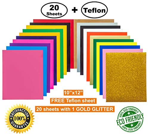 (Heat Transfer Vinyl (HTV) 20 Sheets with 1 Gold Glitter, 1 Bonus Teflon 12''x10'' 19 Assorted Colors for Cameo, Cricut, Heat Press, DIY T-Shirts. Easy to Cut & Weed for Beginners & Professionals)