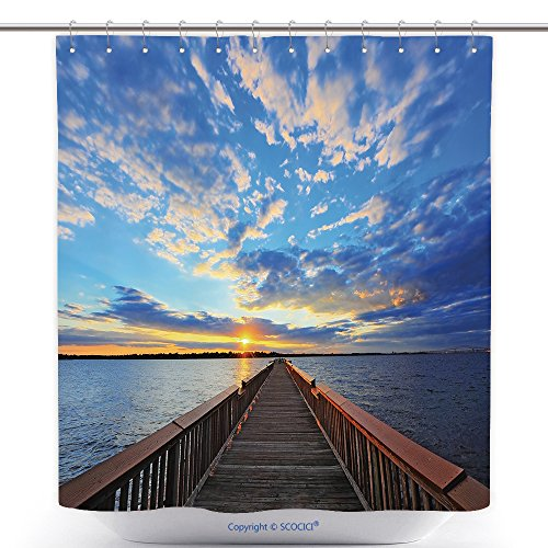 vanfan-Polyester Shower Curtains High Dynamic Range Photo Of Fishing Pier On The Chesapeake Bay Maryland At Sunset Polyester Bathroom Shower Curtain Set With Hooks(70 x 92 - Stores Outlet Maryland In