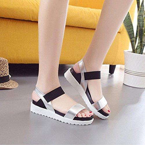 Binmer (tm) Mode Femmes Été Sandales En Cuir Plat Dames Chaussures Sandales Argent