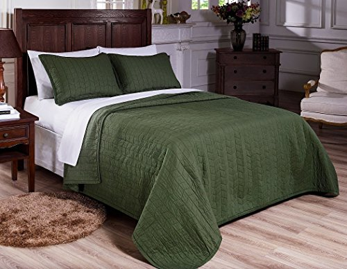 Bedding Collection Quilted (Mk Collection 3pc Quilted bedspread Embroidery Solid Green 100% Cotton Pre-Washed New (Full/Queen))