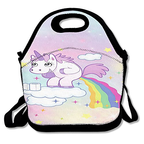 Unicorn Horse Funny Insulated Heating Polyester Backpack Women Men Kids Teen Girls Black Lunch Bag Tote Purse For School Office