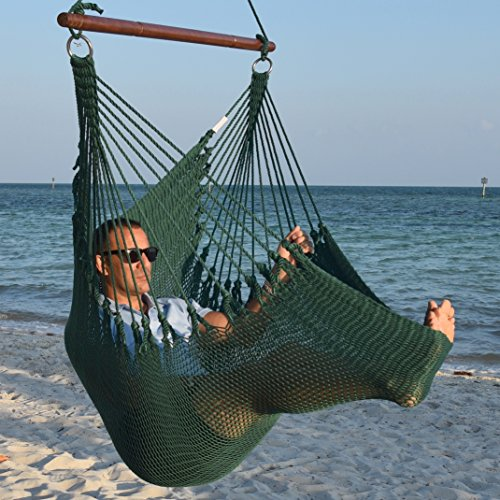 (Jumbo Caribbean Hammock Chair with Footrest - 55 inch - Soft-Spun Polyester - Green)