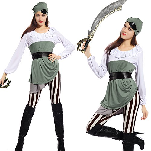 [Women's Shipmate Sweetie Pirate Caribbean Wrench Fancy Dress Halloween Costume] (Hen Night Costume Accessories)