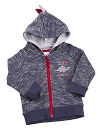 BABYTOWN Baby Boy Dinosaur Themed Hooded Sweatshirt with Zipper