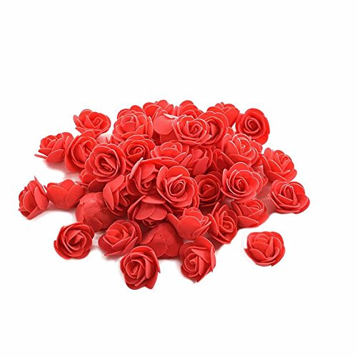 Price comparison product image GOOTRADES 200 Pcs Artificial Flower Heads PE Foam DIY for Wedding Decoration (Red)