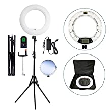 "Yidoblo 96W 18"" 480 LED Ring Light Kit with Makeup Mirror,Tripod Stand,Camera Phone Holder and Bag,Bicolor Continuous Lighting for Photo Studio Video Portrait Film Selfie Youtube Photography"